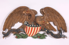 Large Carved and Painted Double Eagle signed Peter Q. Libbey