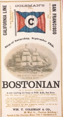 "Ship ""BOSTONIAN"" California Line Clipper Ship Card"