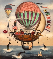 Seascape with Hot Air Balloons, Mermaids and Sailors by Ralph Cahoon