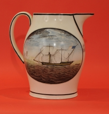 Extremely Rare Hand-Painted Liverpool Jug