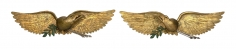 """Spinney, Ivah W., 1881-1963, Exceptional Pair of carved Spread Wing Eagle Plaques """"War And Peace"""" Signed Ivah W. Spinney, circa 1920"""