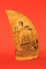 "Pair of Polychrome Scrimshaw Whales Teeth with image of ""Hope"""