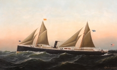 Steam-Sail Ship Santiago by Antonio Jacobsen in Sunset dated 1879