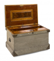 Brass Bound Lift -Top Tool Chest with Marquetry-Inlaid Lid and Movable Inlaid Compartments