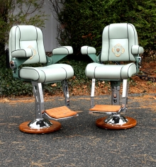 Pair of Stidd Low Back Admirals Chairs with Teak Backs