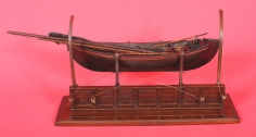 19th Century Carved and Painted Model of a Whale Boat on Davits