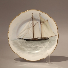 "Eleven Hand Painted Limoge Plates on Board ""Medeleine"""
