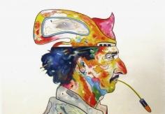 Luis Cruz Azaceta exhibition announcement card picturing 'Self Portrait: Spitting Bullets,' 1980.
