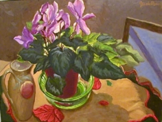 Jack Beal Cyclamen and Pitcher
