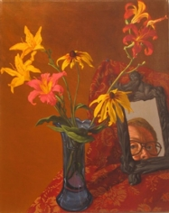 Jack Beal Self Portrait with Rudebeckias and Daylilies