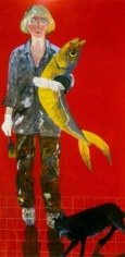 Joan Brown Self-Portrait with Fish and Cat, 1970