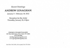 Andrew Lenaghan: Recent Paintings exhibition announcement card (back), 2012.