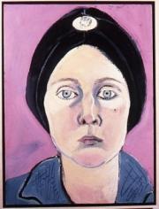 Joan Brown Self-portrait in Turban with Eskimo Dog Pin