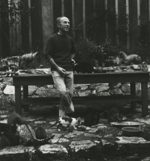 Imogen Cunningham - Edward Weston, Photographer, with his Cats, 1945 - Howard Greenberg Gallery