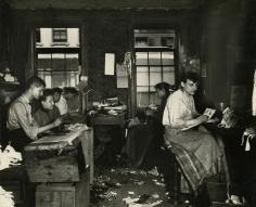 Jacob Riis - Necktie Workshop in a Division Street Tenement, c.1888 - Howard Greenberg Gallery