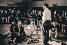 Marvin Newman - Texas Christian University coach Othal Abe Martin with team in locker room before Cotton Bowl game vs Syracuse, Dallas, TX, 1957 - Howard Greenberg Gallery
