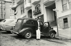 """Allen Ginsberg - Peter Orlovsky age 21 with our first care """"The Hearse"""", San Francisco, 1955 - Howard Greenberg Gallery"""