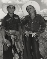 Mary Ellen Mark - Craig Scamardo + Cheyloh Mather, Young Bull Riders - Boerne Rodeo, Texas - Howard Greenberg Gallery