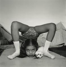 Mary Ellen Mark - Contortionist with Her Puppy Sweety, Great Raj Kamal Circus, Upleta, India - Howard Greenberg Gallery
