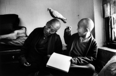 Martine Franck - Tulku Khentrol Lodro Rabsel with his tutor Llagyel in the Shechen monastery, Bodnath, Nepal, 1996 - Howard Greenberg Gallery