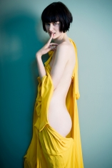 Sophie Delaporte, Nudes, Model with yellow fabric, 2010, Sous Les Etoiles Gallery