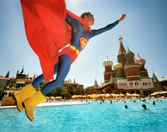 Reiner Riedler, Fake Holidays, Man in Superman costume above Red Square, Antalya, Turkey, 2006, Sous Les Etoiles Gallery