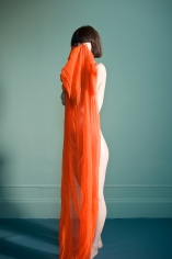 Sophie Delaporte, Nudes, Model standing still with orange fabric, 2010, Sous Les Etoiles Gallery
