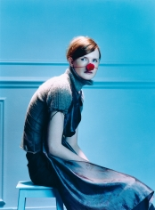 Sophie Delaporte, Early Fashion Work, Model sitting with red ball nose, Sous Les Etoiles Gallery
