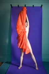 Sophie Delaporte, Nudes, Model with orange fabric and purple background, 2010, Sous Les Etoiles Gallery