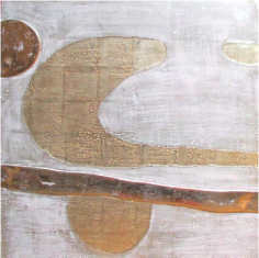 Untitled Moon Gold and White Gold (Chanel), 2012, Moon gold leaf, white gold leaf, resin, on wood panel