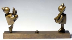 Tom Otterness Ballerina and Tin Soldier with Two Hearts