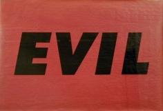 Evil 1973 screenprint on wood-grain veneer paper