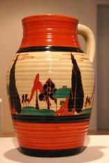 Red Trees and House single-handled lotus jug