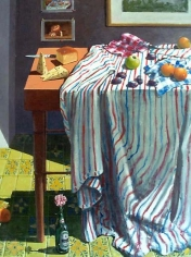Paul Wonner Striped Cloth with Fruit and Cheese, 1999