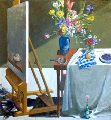 Paul Wonner Studio with Easel and Still Life, 1999