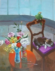 Room with Curved Window Cat and Bird