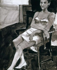Untitled ink wash, charcoal on paper
