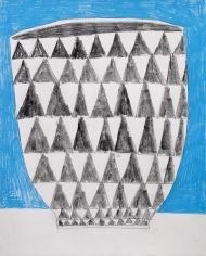 Jonas Wood Triangle Pot with Blue Background, 2009