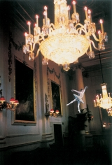 Karen Kilimnik, the electricity fairy (on the potted palm) lights up the crush room for the party, 2000