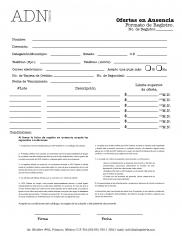Formato Ofertas en Ausencia para Subastas