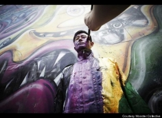 Huffington Post | Chinese Artist Liu Bolin Disappears into Kenny Scharf Bowery Mural