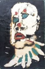 Painting of the organic shape of a human head. The eyes are solid, aquamarine blue with no pupil or iris and have red dots above them. The nose has no defining bridge but large, defining nostrils painted in black. The lips of the person are bright red, the same color as the dots, and are parted in an expression of dismay. At the neck the person is wearing a white collar with lines of the same blue as the eyes.