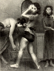 Charcoal drawing of three women. The woman on the left bends over the adjust her shoe and is wearing a long skirt with a plaid pattern, the one in the center twists around with an inquisitive expression on her face, her torso facing us and legs in the opposite direction. She wears a plaid blouse and a dark undergarment. To the right, the final woman stands facing us with a stoic expression on her face wearing a turtleneck and dark, long skirt.