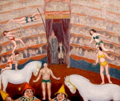 Painting of a circus performance, in the front left two male figures balance on a large white horse as a man holds up a woman swinging on a tall brown pole. On the right two female figures balance on another large white horse. Closest to us at the bottom of the frame the faces of two clowns are visible. Behind the performers there are seats filled with audience members stacked upon each other.
