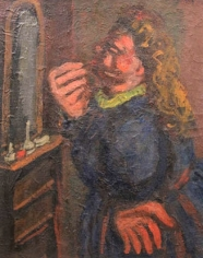 Painting of a woman standing on the right with her profile facing us, putting on lipstick while looking into a mirror. Her skin is painted in bright shades of salmon pink, her hair is curly, golden brown, and she wears a midnight blue dress with a neon yellow collar. The mirror is small and grey and sits on a thin, light brown dresser.