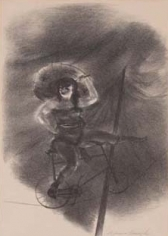 Charcoal drawing of a woman seated on a bicycle balancing on a thin rope. On the front end of the bicycle she uses a long pole to balance which is propped beneath her calf. She has long dark hair and wears a large, light colored sun hat.