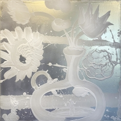 HOWE, Catherine_Mica Painting (Lily Tulip)_40x40