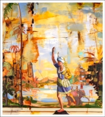 LAUGHLIN-Page-Running_Woman_oil on Mylar_46x42