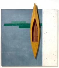 RUDDELL-David_Blackboard with Green-Shellac Boat_70x61x8