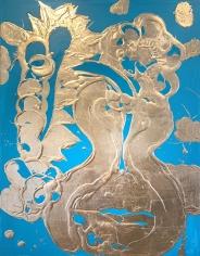 HOWE, Catherine_Gilded Painting (Luminous Turquoise)_48x36